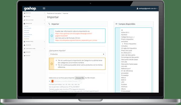 GoShop Importación y Exportación Masiva